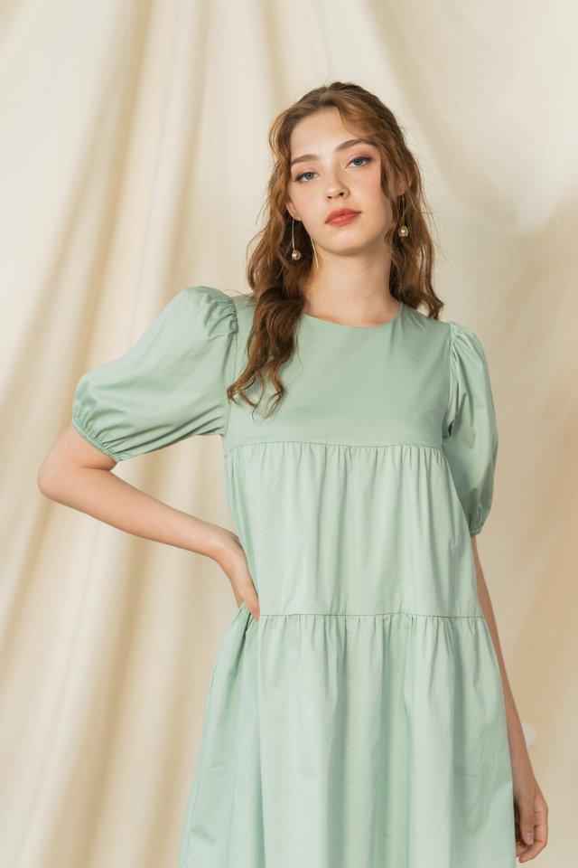 Dayna Tiered Babydoll Dress in Sage