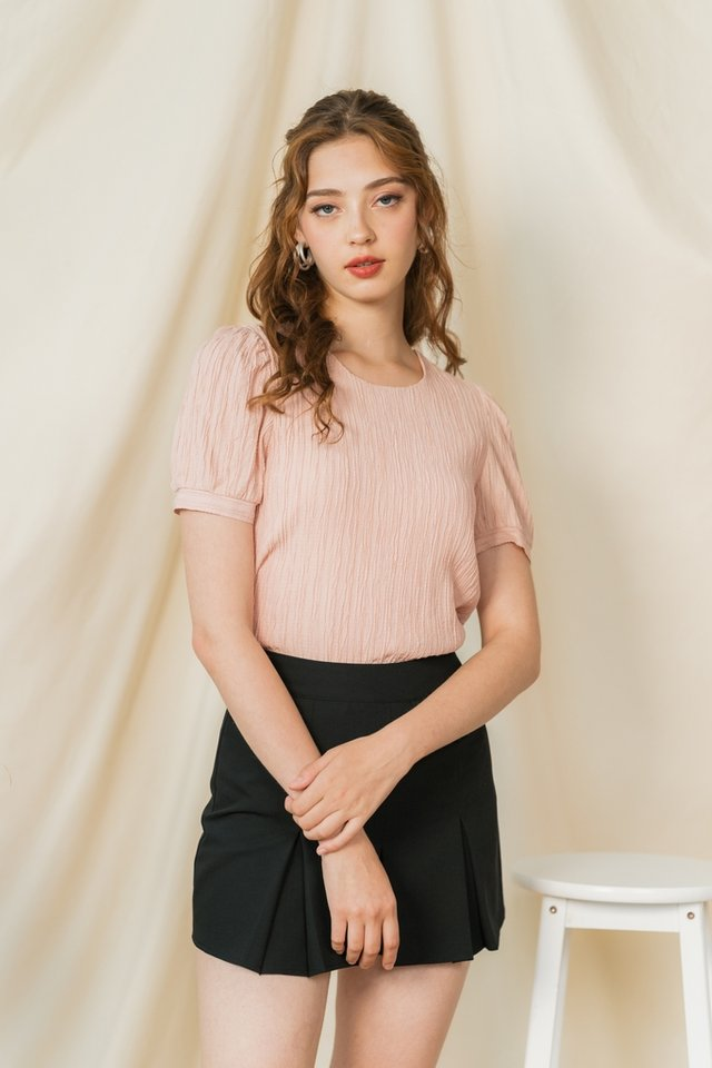 Shanell Textured Puffed Sleeves Top in Blush
