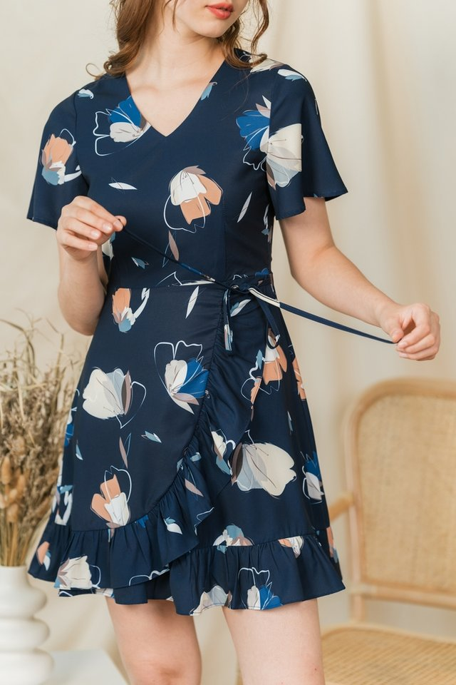 Nika Butterfly Signature Ruffles Dress in Navy