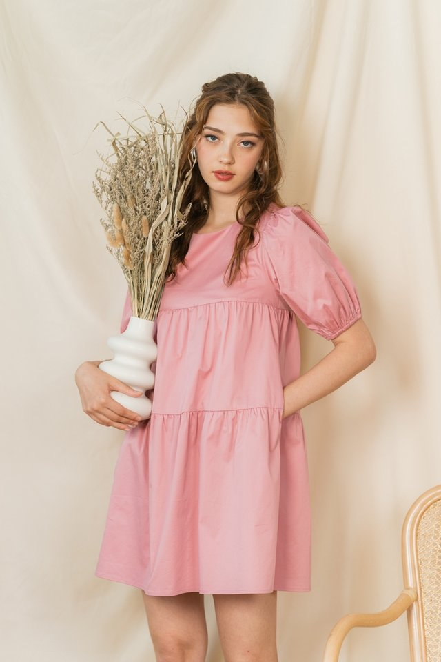 Dayna Tiered Babydoll Dress in Pink