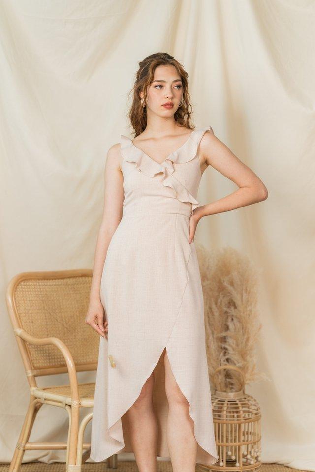 Shantel Ruffle Sleeves Midi Dress in Oatmeal