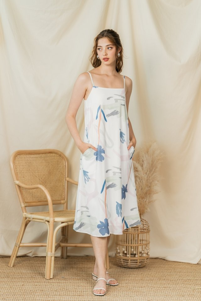 Renee Abstract Midi Dress in White