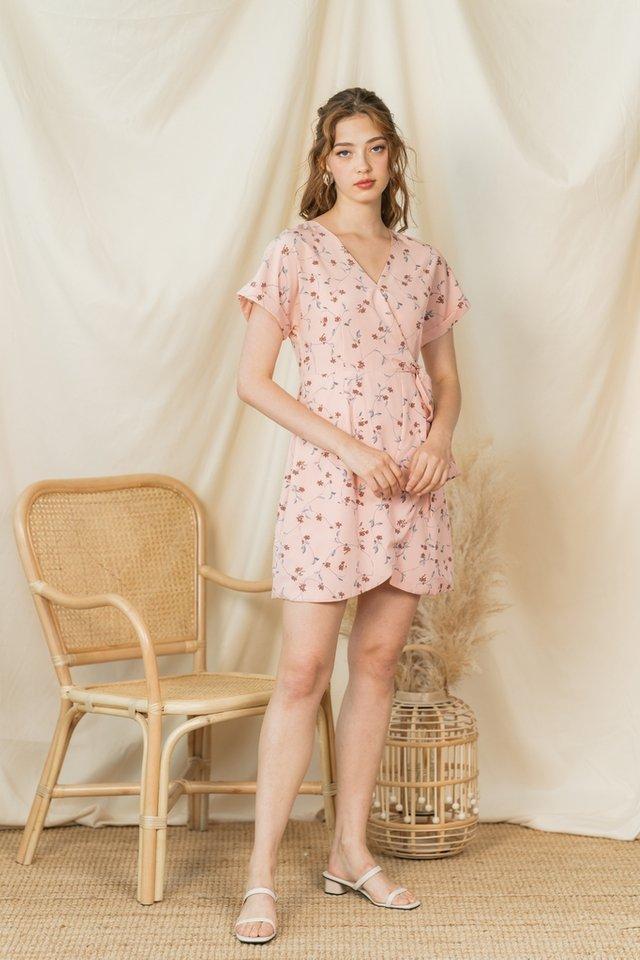 Alicia Floral Faux Wrap Dress in Blush
