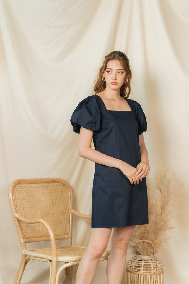 Leah Puffed Sleeves Square Neck Dress in Navy