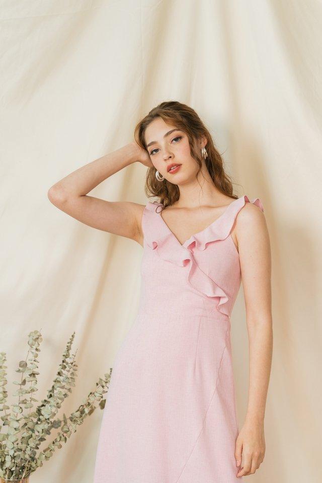 Shantel Ruffle Sleeves Midi Dress in Pink