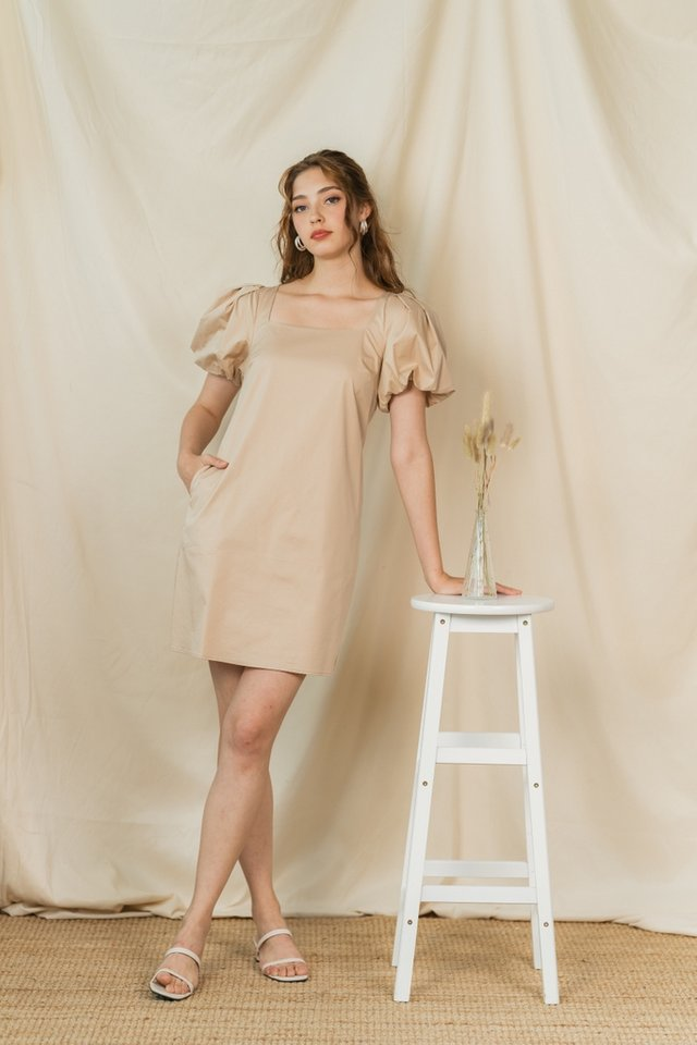 Leah Puffed Sleeves Square Neck Dress in Sand
