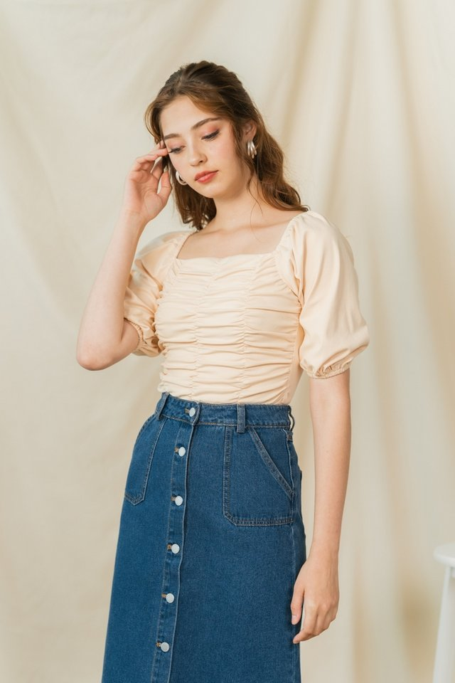 Jovina Ruched Two Way Top in Cream