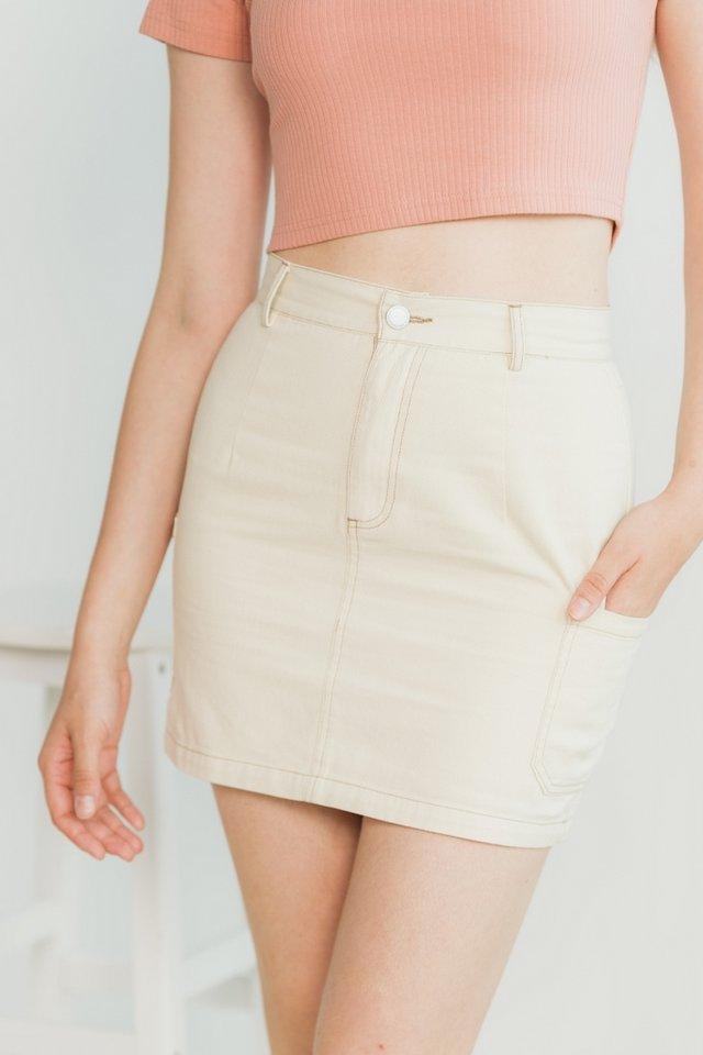 Danica Pocket Stitch Denim Skirt in Cream