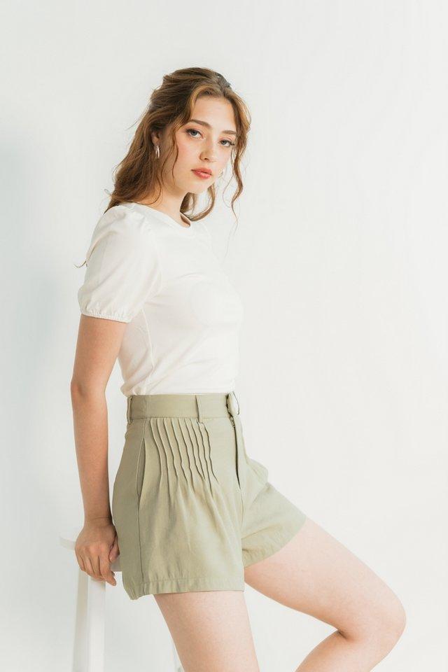 Freda Pleated High Waist Shorts in Sage