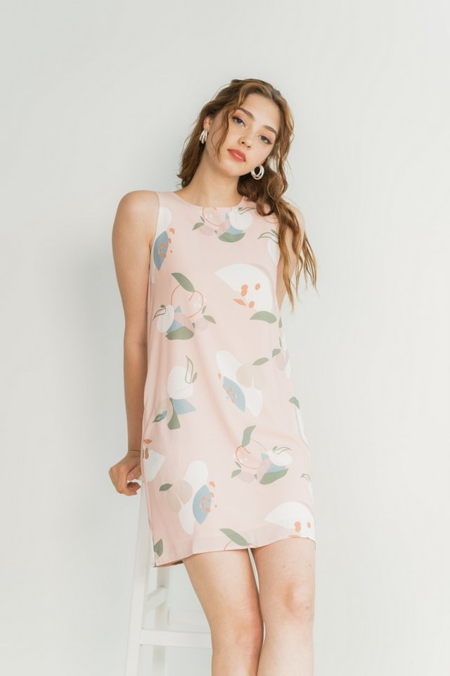 Jovie Abstract Fruit Trapeze Dress in Blush