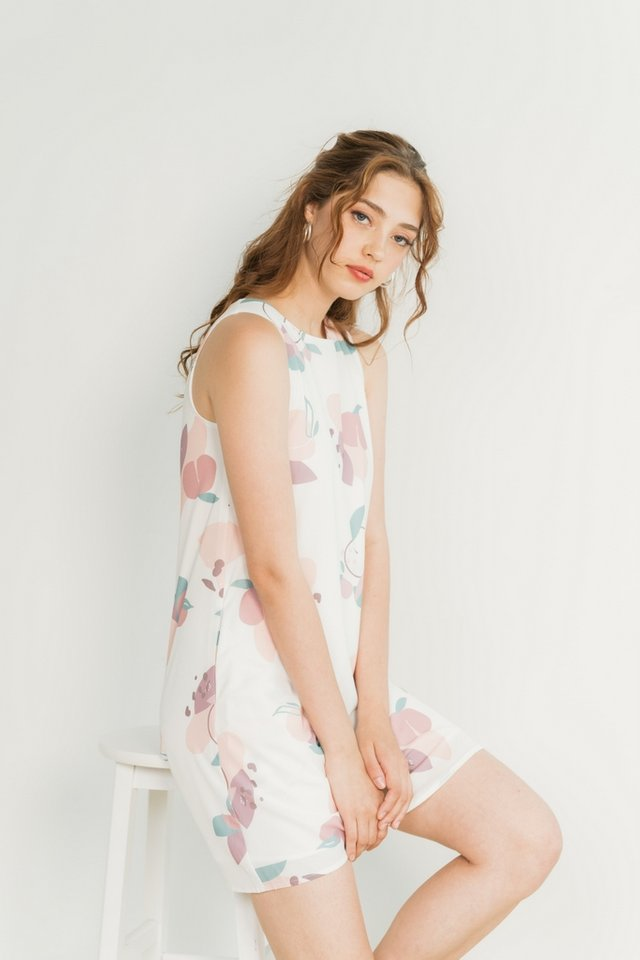 Jovie Abstract Fruit Trapeze Dress in White