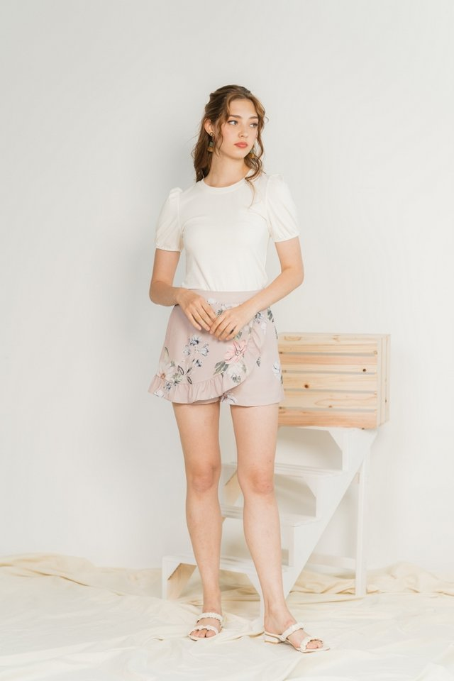 Nikki Basic Cotton Puffed Sleeves Top in White