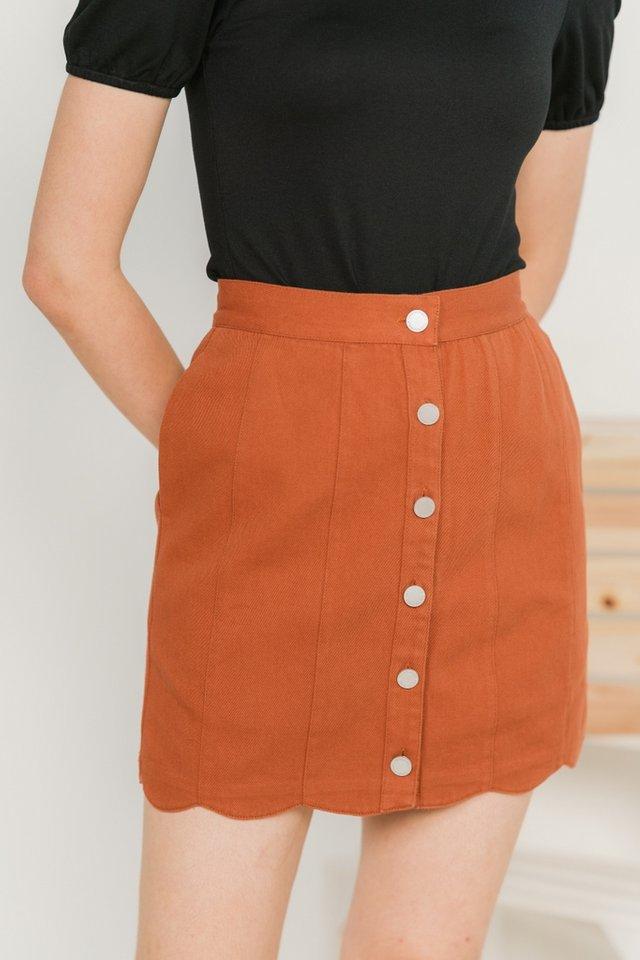 Michelle Scallop Denim Skirt in Brick