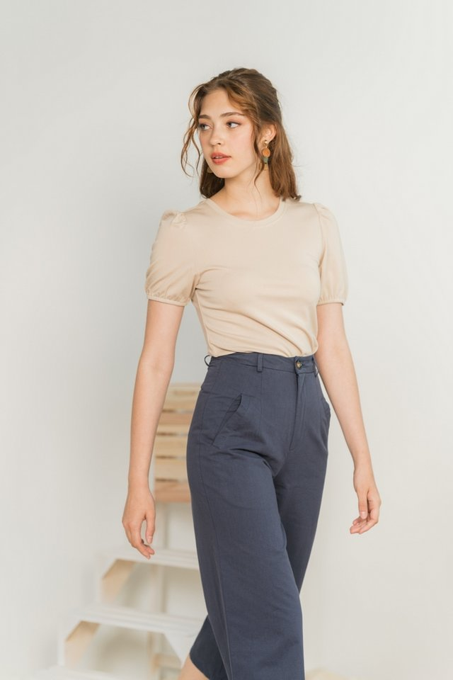 Nikki Basic Cotton Puffed Sleeves Top in Sand