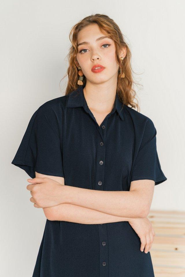 Lorene Drop-Sleeved Button Shirt Dress in Navy
