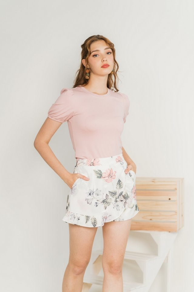 Nikki Basic Cotton Puffed Sleeves Top in Dusty Pink