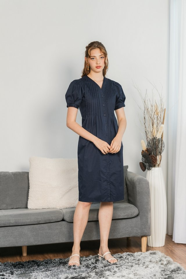 Betsy Pleated Button Midi Dress in Navy