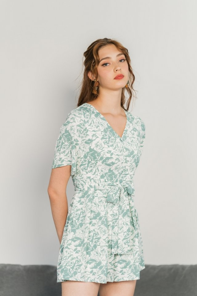 Erina Abstract Floral Romper in Jade