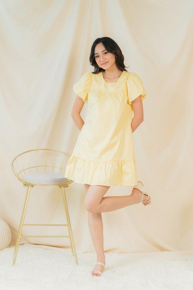 Rael Puffed Sleeves Dress in Daffodil Yellow