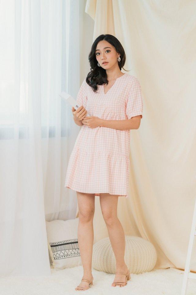 Berlyn Gingham V-Neckline Babydoll Dress in Pink