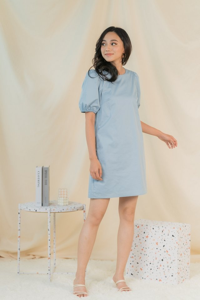 Anette Puffed Sleeves Dress in Baby Blue