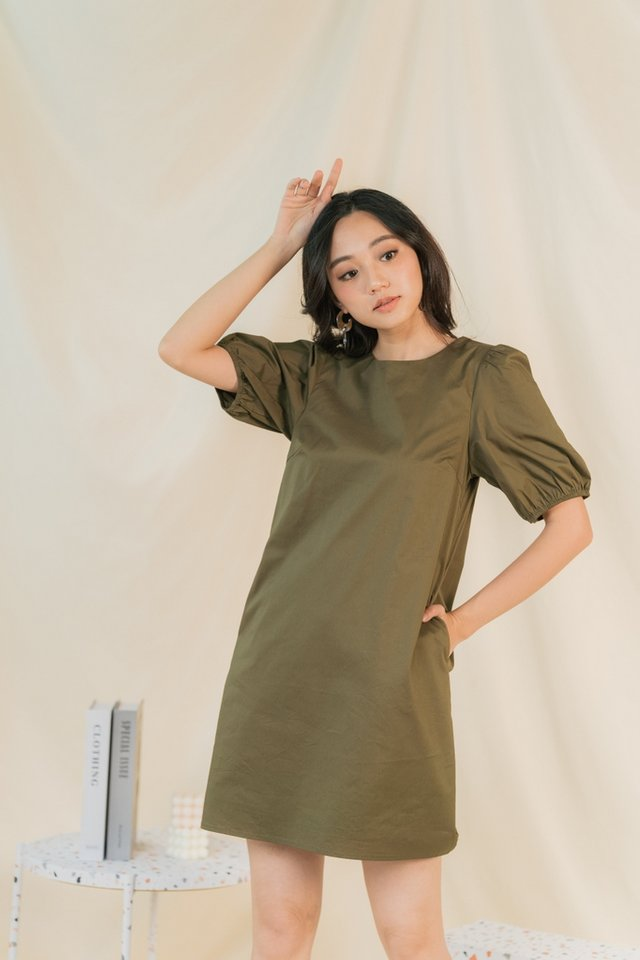 Anette Puffed Sleeves Dress in Olive