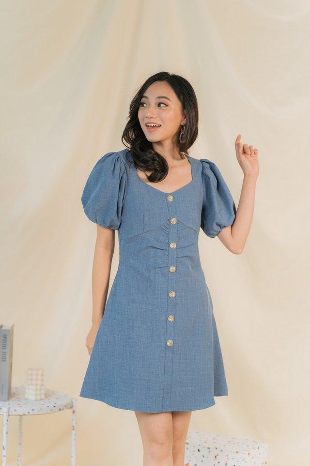 Ellie Ruched Button Dress in Denim Blue
