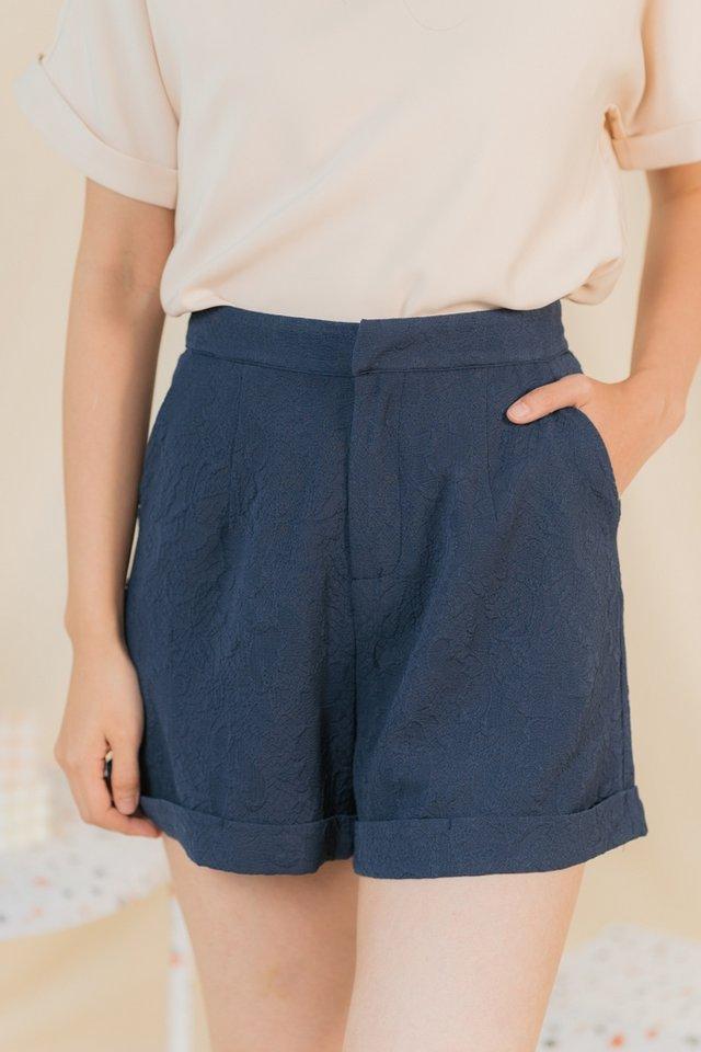 Korrie Embossed Textured Shorts in Navy