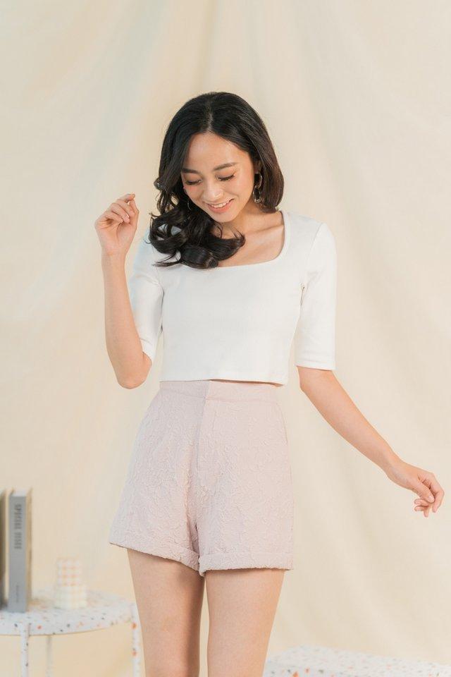 Korrie Embossed Textured Shorts in Dusty Pink