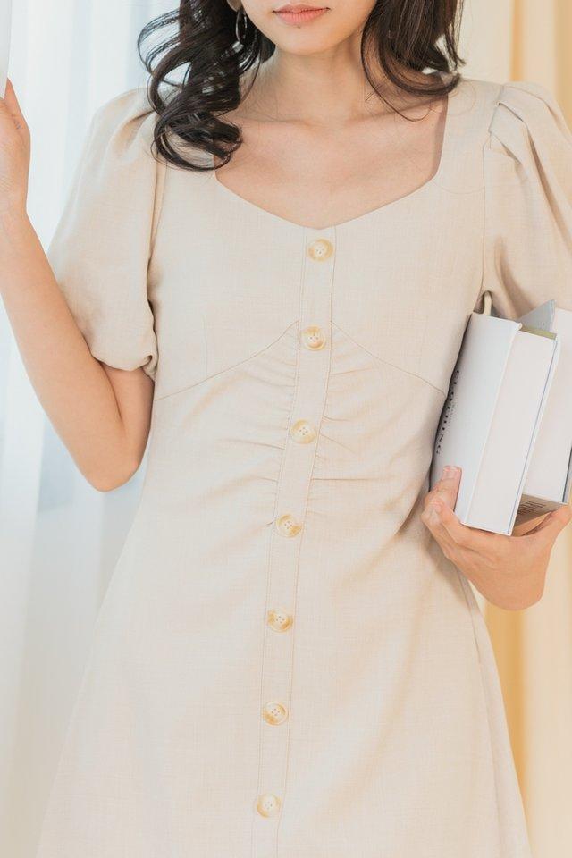 Ellie Ruched Button Dress in Ecru