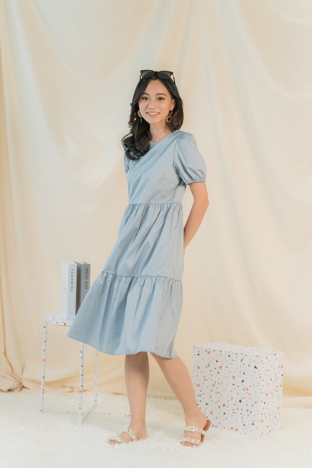 Vita Babydoll Midi Dress in Dusty Blue