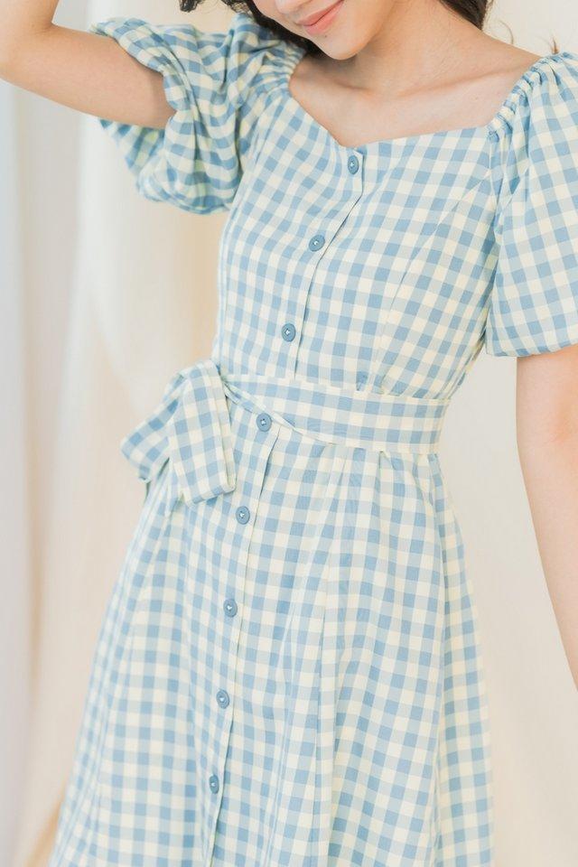 Diya 2-Way Gingham Puffed Sleeves Dress in Blue