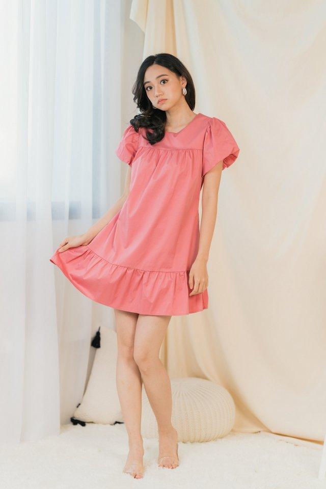 Rael Puffed Sleeves Dress in Rose Pink