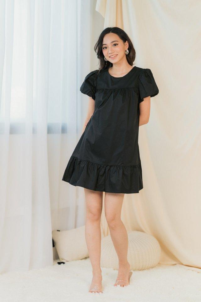 Rael Puffed Sleeves Dress in Black