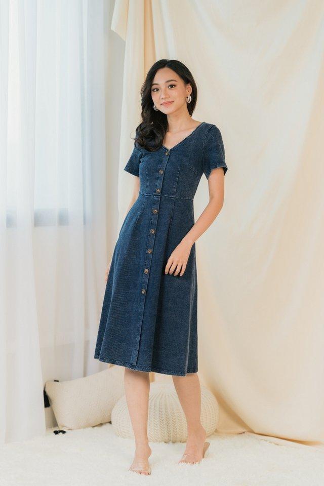 Julisa Button Denim Dress in Dark Wash