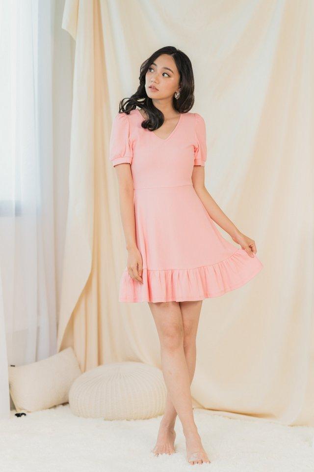 Zyla Ribbed Ruffled Hem Dress in Pink