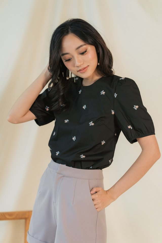 Charlene Floral Embroidery Top in Black