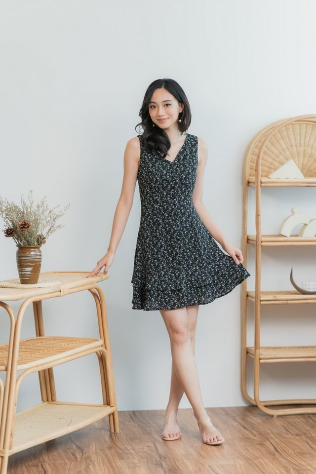 Lola Floral Button Tiered Dress in Black
