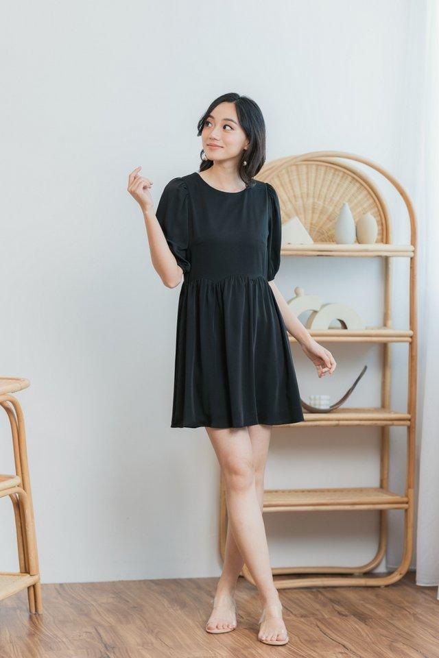 Jamie Scallop Babydoll Dress in Black