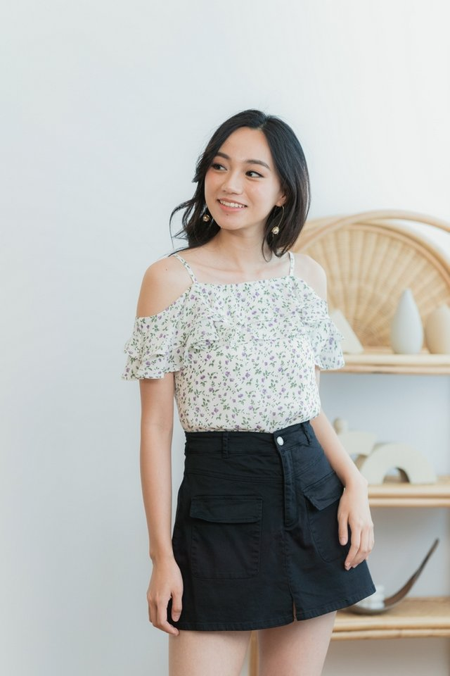 Zia Floral Ruffled Cold-Shoulder Top in White