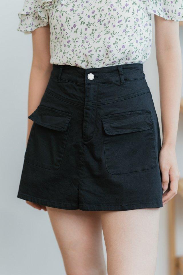 *BACKORDER* Sophie Pocket Denim Skorts in Black