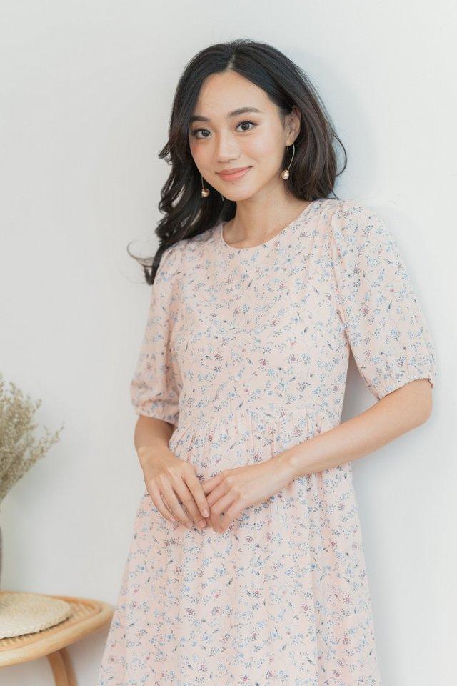 Jamie Floral Scallop Babydoll Dress in Blush