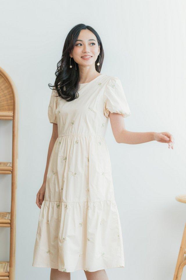 Bernice Floral Embroidery Midi Dress in Cream