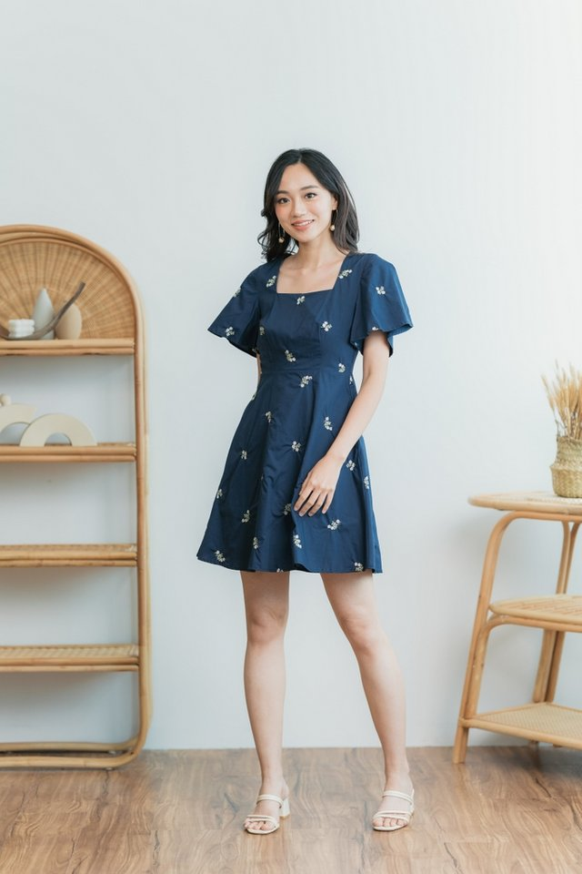 Melissa Floral Embroidery Dress in Navy
