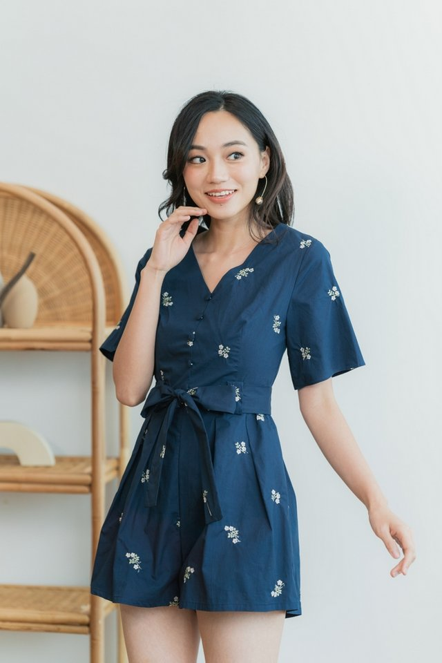 Ruth Floral Embroidery Button Romper in Navy