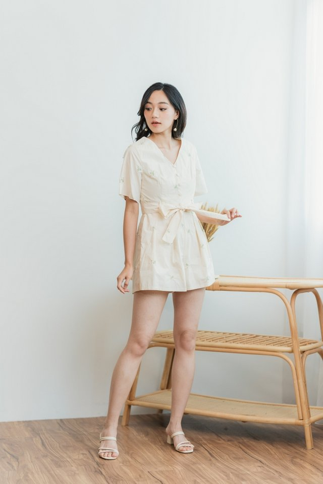 Ruth Floral Embroidery Button Romper in Cream