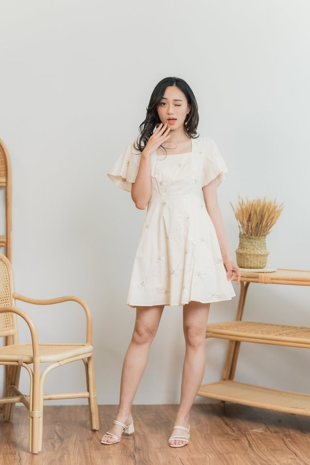 Melissa Floral Embroidery Dress in Cream