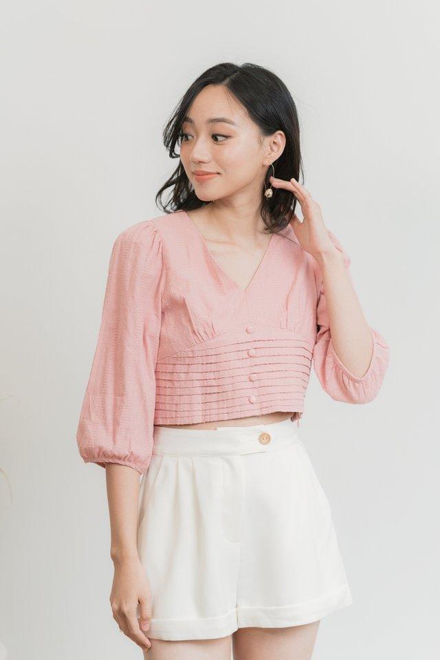 Adelia Button Short in White