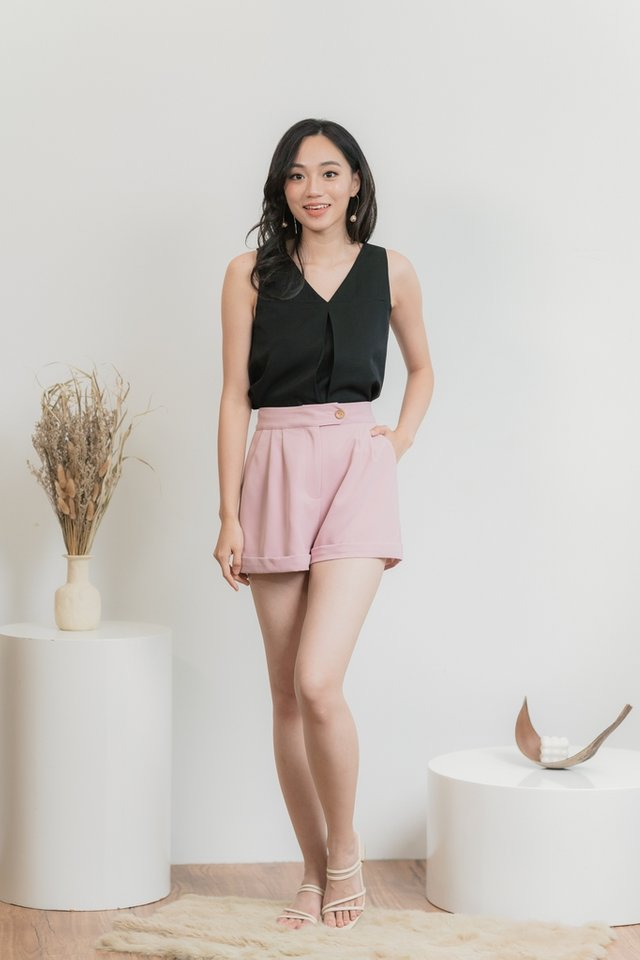 Adelia Button Short in Pink