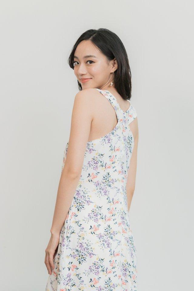 Krystal Floral Halter Neck Midi Dress in White